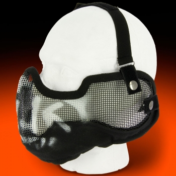 V2 Steel Mesh Lower Face Mask Black Skull