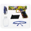 Includes goggles, ammo, refill bottle, charging cable