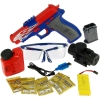 Includes battery pack, battery, goggles, ammo, refil bottle, charging cable, fillport