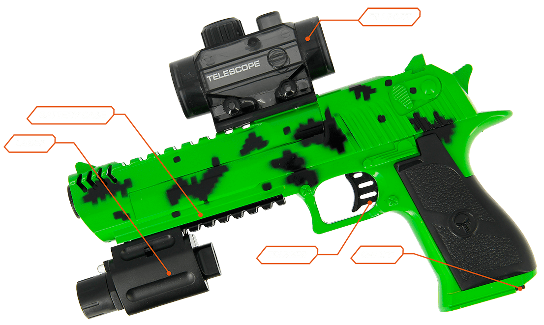 GelSoft Eagle Green Splat Parts